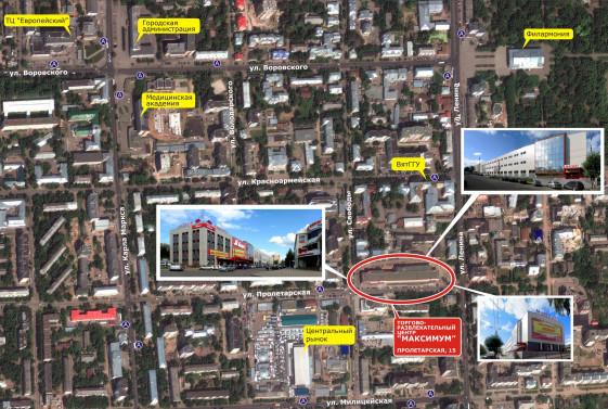 Расположение ТРЦ МАКСИМУМ на на карте города Кирова