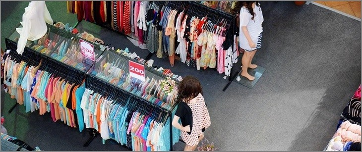 Big sale of fashionable women's clothing and lingerie in store
