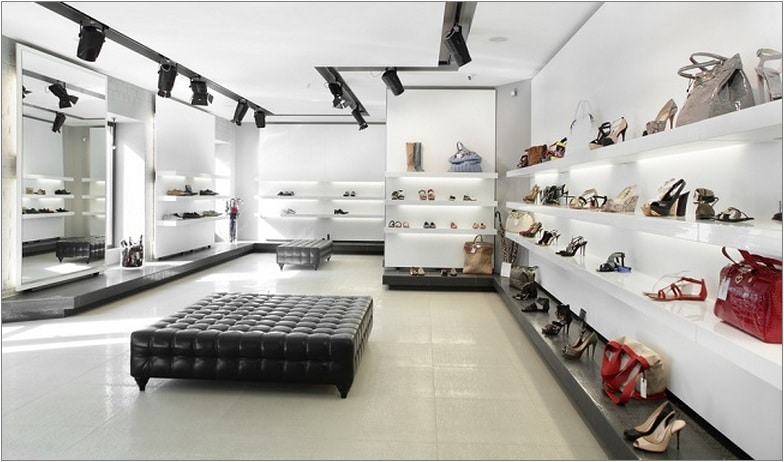 bright large shoe store with luxury collection
