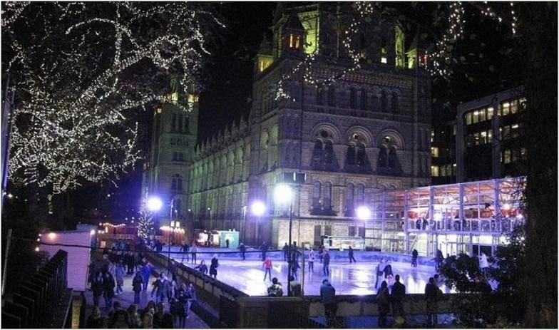 каток зима вечер активный отдых спорт